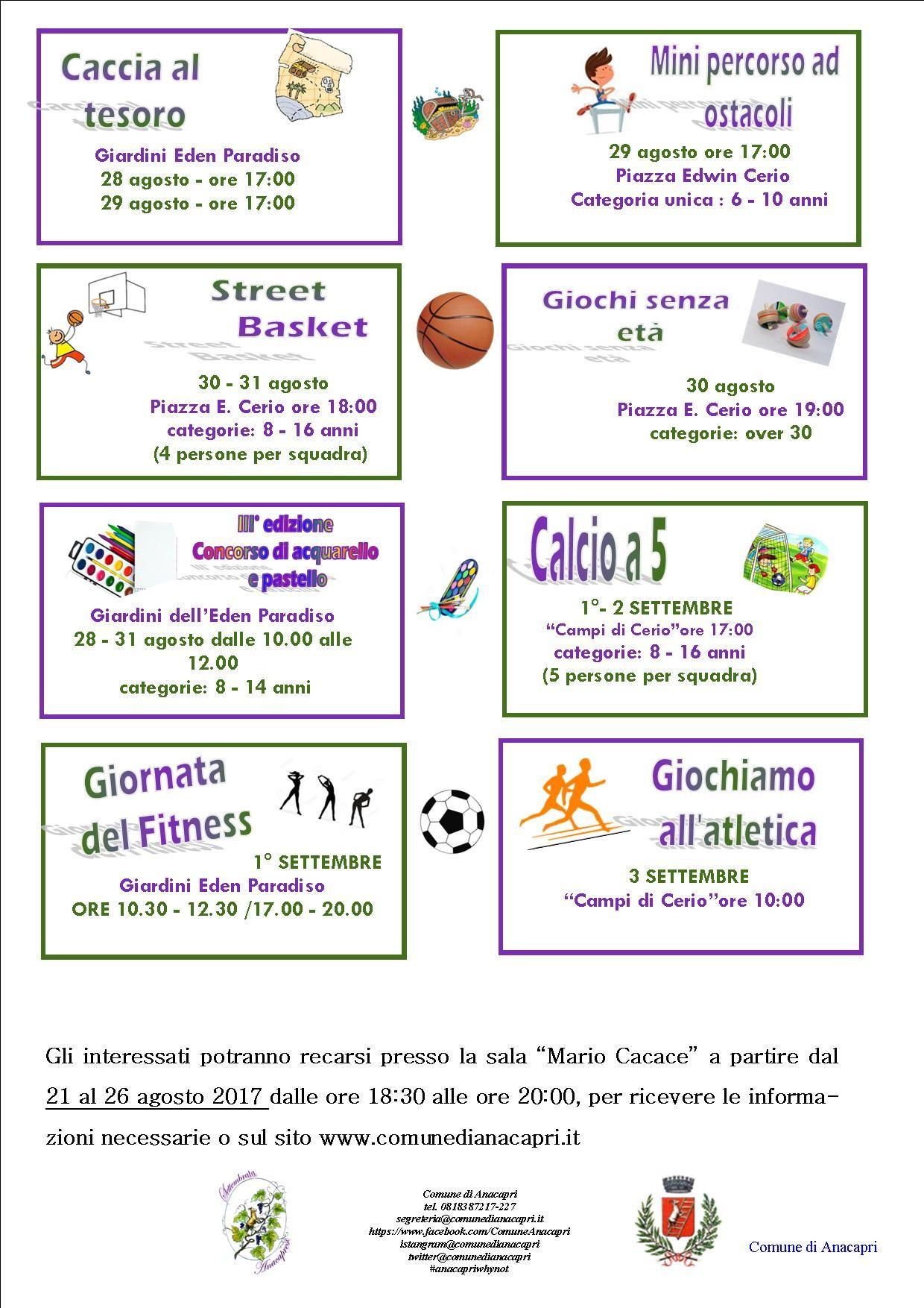 Settembrata Anacaprese 2017 - Iscrizioni attività sportive